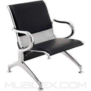 silla de espera metalica cuerina 1 puesto