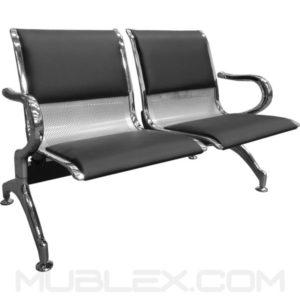 silla de espera metalica cuerina 2 puestos