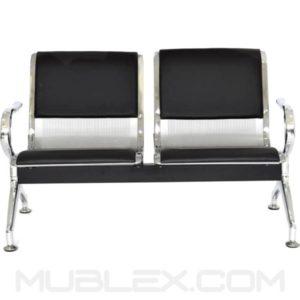 silla de espera metalica cuerina 2 puestos 2