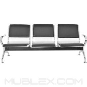 silla de espera metalica cuerina 3 puestos 2