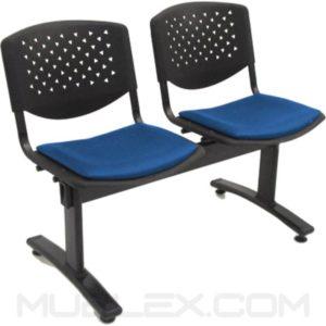 silla tandem prisma tapizado 2 puestos