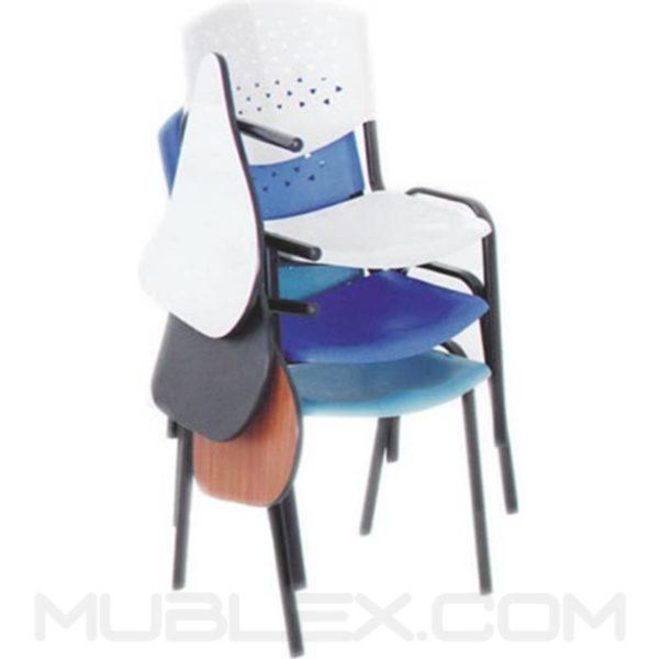silla universitaria prisma acolchada brazo fijo en plastico 3