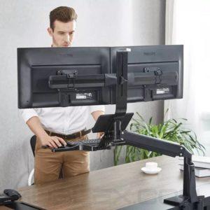 estacion de trabajo de pie o sentado fc242a 2 para dos pantallas de 27 2