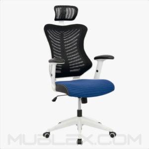 silla rumania blanca azul cabecero